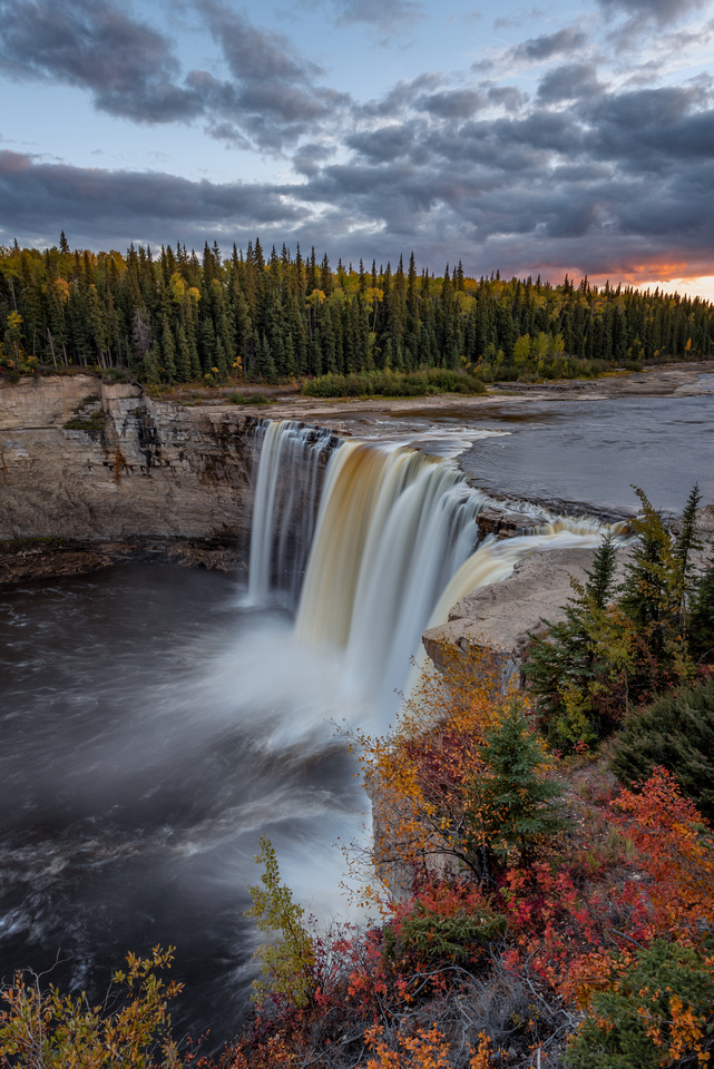 Alexandra Falls in the Northwest Territories at sunset, during the beautiful colours of Autumn.